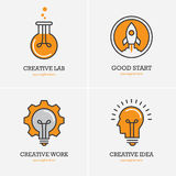 Four icons with human head, rocket and light bulb stock illustration