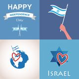 Four icons of Israel. Happy independence day. illustration Royalty Free Stock Photography