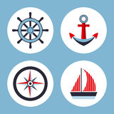 Four icons on the marine theme stock illustration