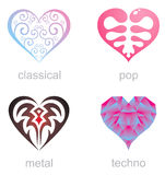 Four icons of musical hearts Stock Photos