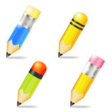 Four icons of pencils Stock Photos