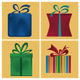 Four icons of present boxes Stock Photo