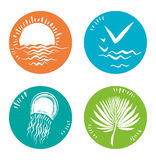 Four icons summer nature. Royalty Free Stock Images
