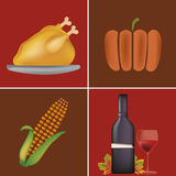 Four icons for thanksgiving day Stock Image