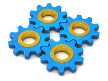 Four identical gears together 3d. Four identical blue gears together as teamwork symbol 3d Stock Photography
