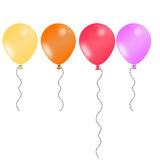 Four illustrated balloons in joyful colors Royalty Free Stock Images
