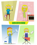 Four illustrations of busy cartoon young woman Royalty Free Stock Photo