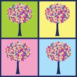 Four illustrations with colored trees Royalty Free Stock Photo