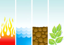 Four illustrations of the elements. Fire, water, soil and plants Royalty Free Stock Photography