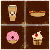 Four illustrations fast food Royalty Free Stock Photo