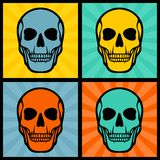 Four illustrations with skulls on pop art Stock Photo