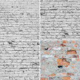 Four image of brick wall texture. Stock Photo