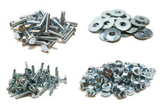 Four image in one. Bolts washers screws and nuts Royalty Free Stock Photography