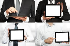 Four images - businessman holding a tablet PC Stock Photography