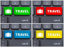 Four images of computer keyboard with travel button Royalty Free Stock Photo