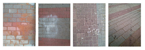 Four images of gray-burgundy color street sett Stock Photos