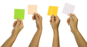 Four Images Of Hands Holding Color Cards Royalty Free Stock Photos