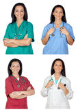 Four images of a pretty woman doctor Royalty Free Stock Image