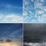 Four images of sky. Stock Image