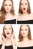 Four images of a young woman in photo booth. Expressing different emotions.Image is a collage Stock Image