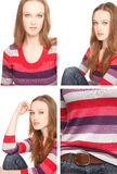 Four images of a young woman in Photo Booth Royalty Free Stock Photography