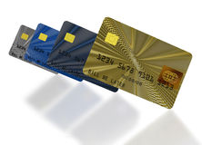 Inclined credit cards composition. Four inclined credit cards on white background Stock Photos