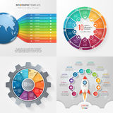 Four infographic templates with 10 steps, options, parts, proces Royalty Free Stock Image