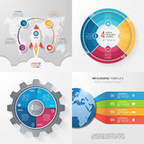 Four infographic templates with 4 steps, options, parts, process Stock Images