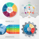 Four infographic templates with 5 steps, options, parts, process Royalty Free Stock Photo