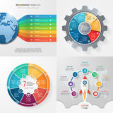 Four infographic templates with 7 steps, options, parts, process Stock Photos