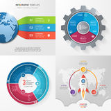 Four infographic templates with 3 steps, options, parts, process Royalty Free Stock Images