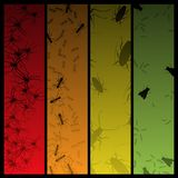 Four insect and spider banners Stock Images