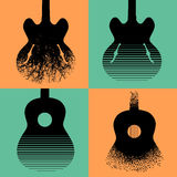 Four interesting guitar designs Royalty Free Stock Image