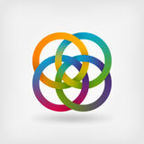 Four interlocked rings in rainbow colors Stock Image