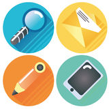 Four internet buttons magnifying glass, letter, pen and tablet Royalty Free Stock Images