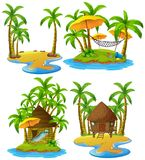 Four islands with wooden hut and coconut trees. Illustration Stock Photo