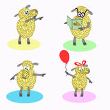 Four isolated cartoon sheep Royalty Free Stock Images