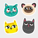 Four isolated cat emoji framed thick white line Blue cat in speckles striped yellow kitty Siamese smiley pussy. Melancholy gray moggy Vector isolated icon Hand Royalty Free Stock Image