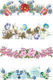 Four isolated floral strips collection Stock Photos