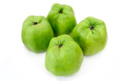 Four Isolated Green Organic Cooking Apples Stock Photos