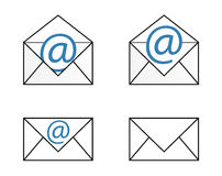 Four isolated mail icons set Royalty Free Stock Images