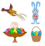 Four isolated set  for Easter cards Royalty Free Stock Photos