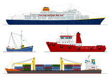 Four isolated ships Royalty Free Stock Photo