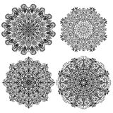 Four isolates circular mandalas with different ornaments  illustration Royalty Free Stock Photos
