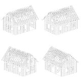 Four isometric line drawing schema views Royalty Free Stock Image