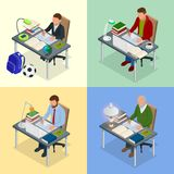 Four isometric pictures on the subject of training.. Four isometric pictures on the subject of training. A boy, teenager, man, old man sits at a table with Royalty Free Stock Image