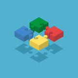 Four isometric puzzle pieces Stock Photo