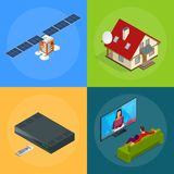 Four isometric web concepts a house with an antenna, satellite, a TV tuner, a man watching television. Wireless Royalty Free Stock Photography