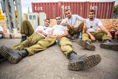 Four Israeli soldiers. Royalty Free Stock Photography