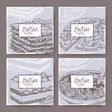 Four Italian cuisine banners with pizza, lasagna, tiramisu, spaghetti. Stock Photos